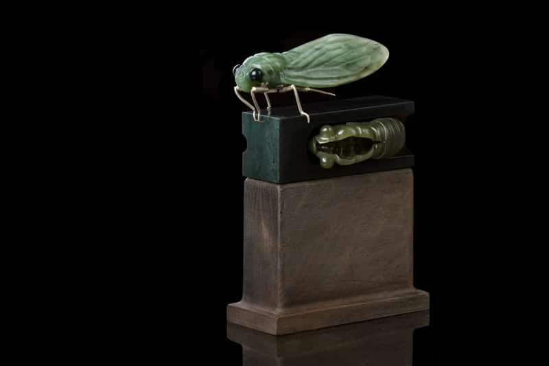 Open to Change - Jade Cicada Sculpture