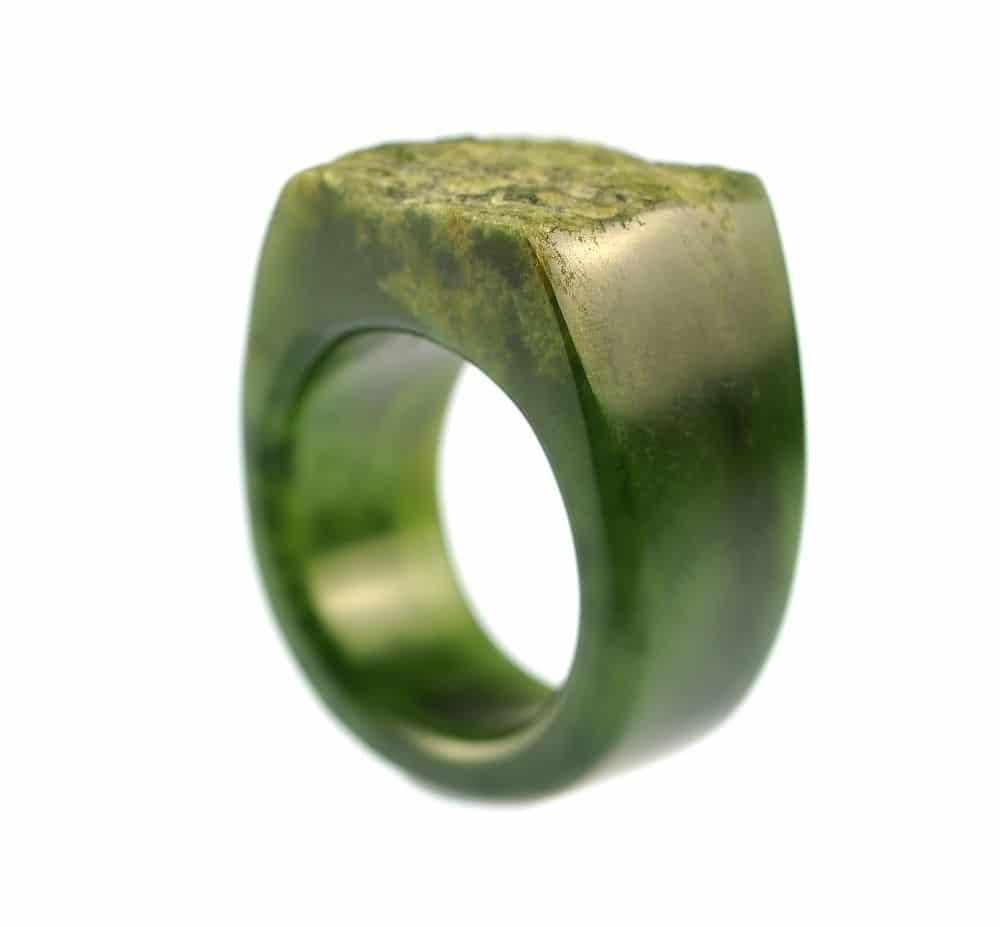 flower pounamu ring